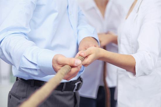 Mitarbeiter und Führung